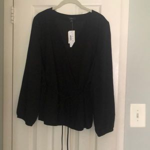 Black faux wrap blouse from J Crew NWT
